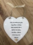 Shabby personalised Gift Chic Aunty auntie Great aunt hanging heart any Name - 332522168616